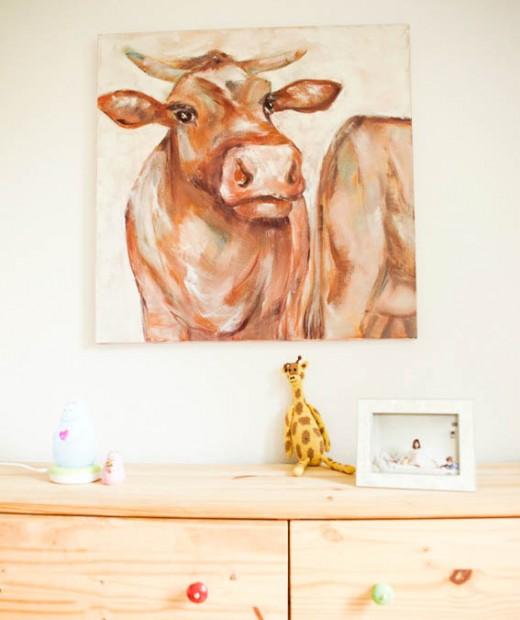 Kuh, Bild, Kinderzimmer, Pelle