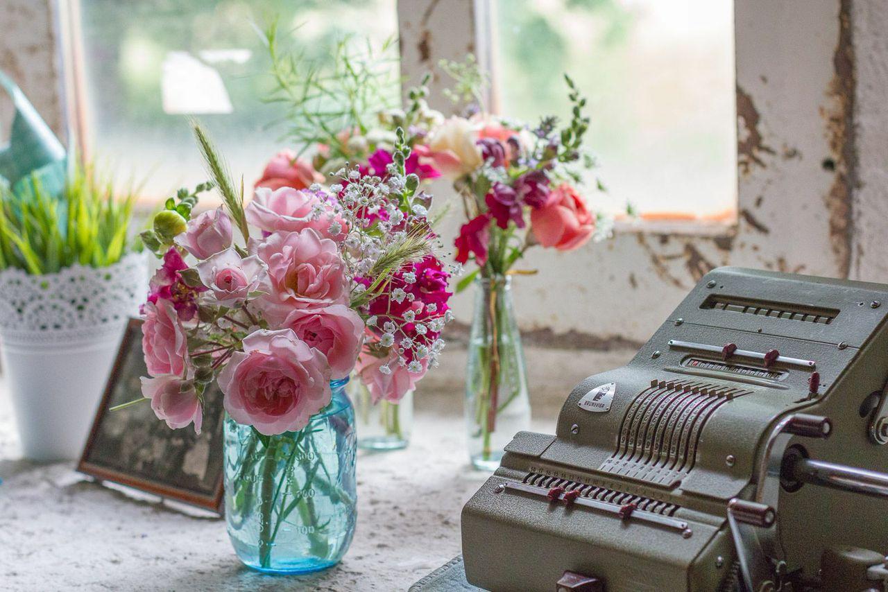 Vintage, Hochteit, Taufe, Blumen