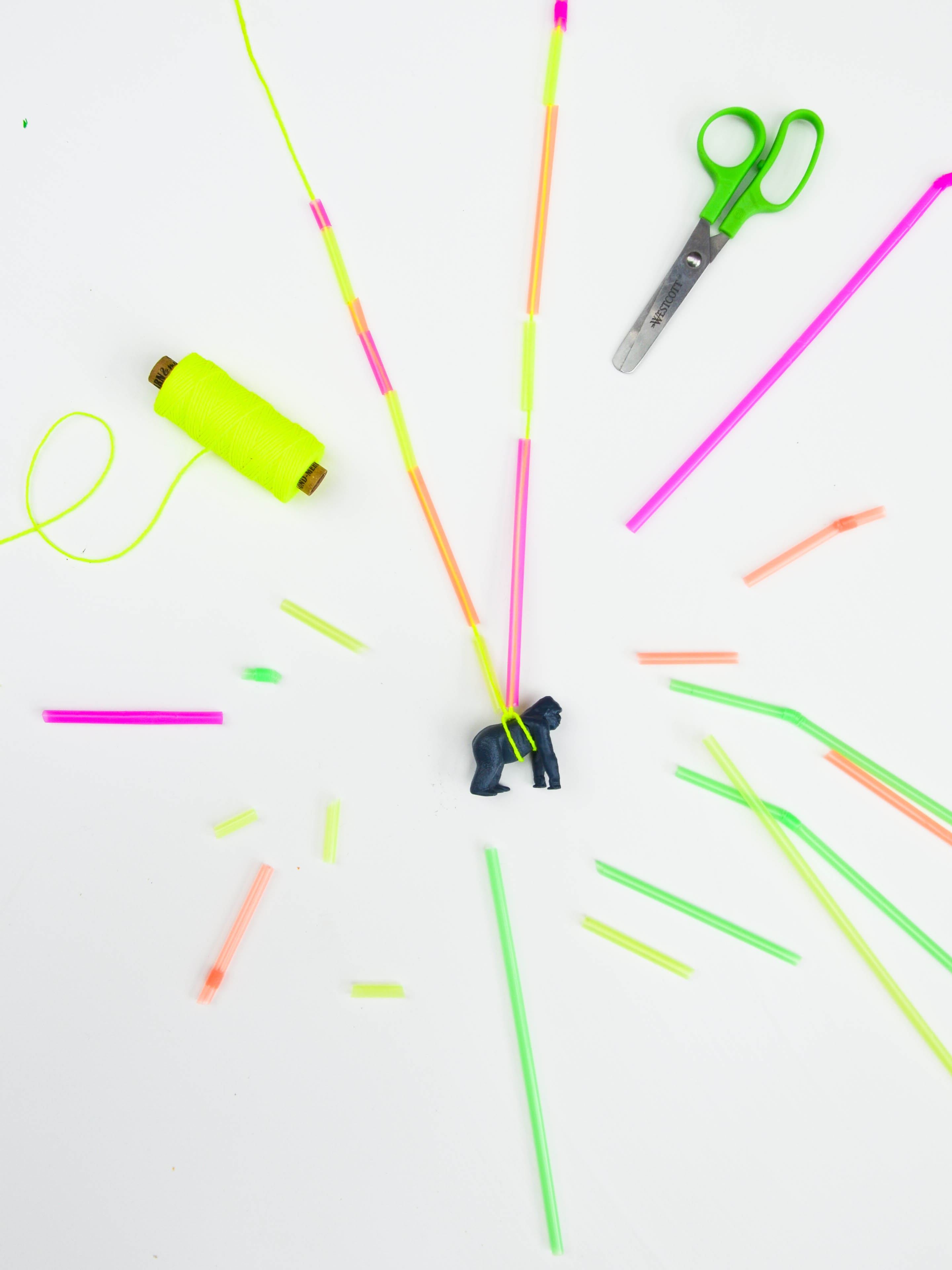 Trinkhalm Kette, Neon, DIY