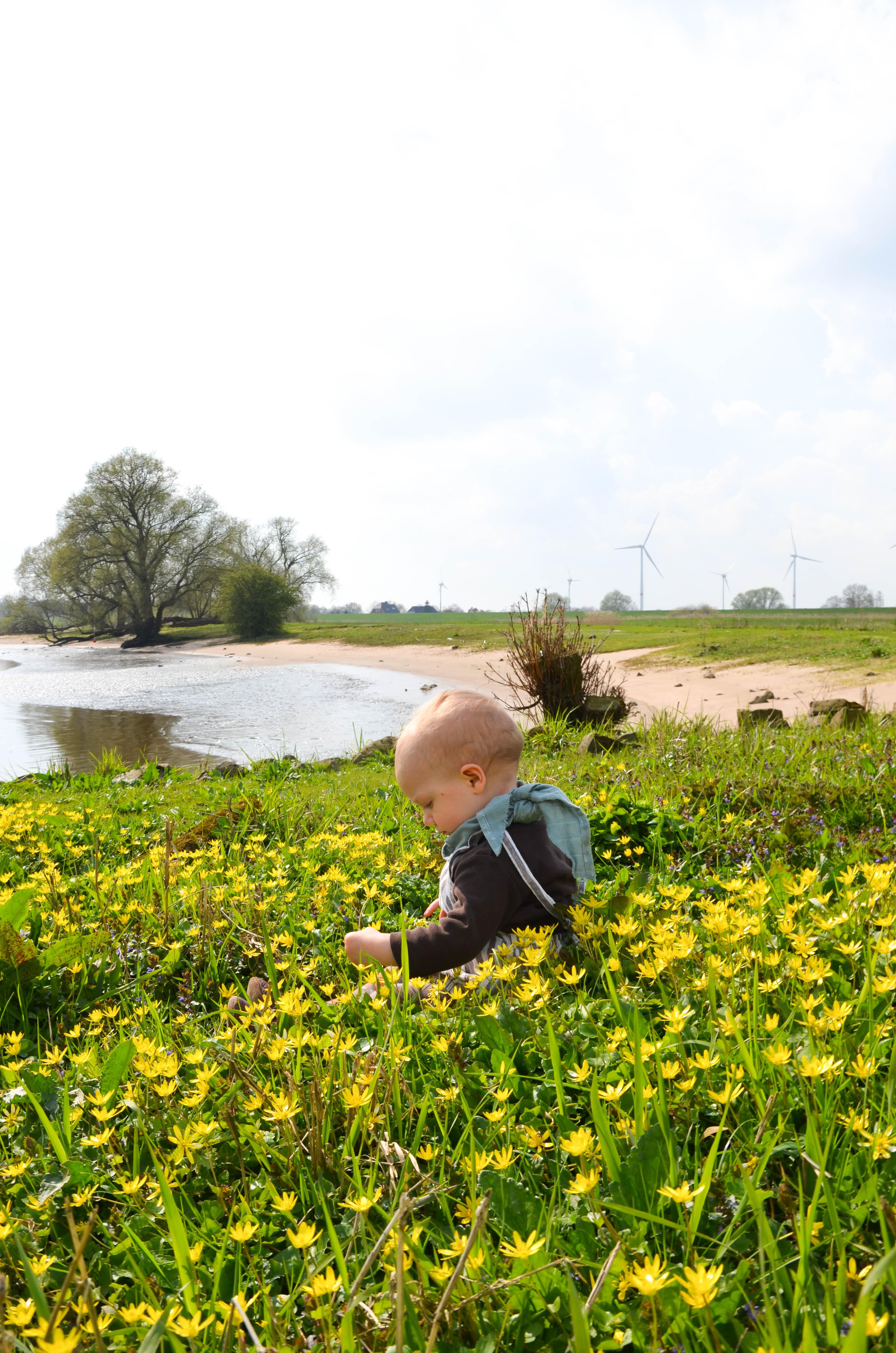 Frühling, Elbe, Baby