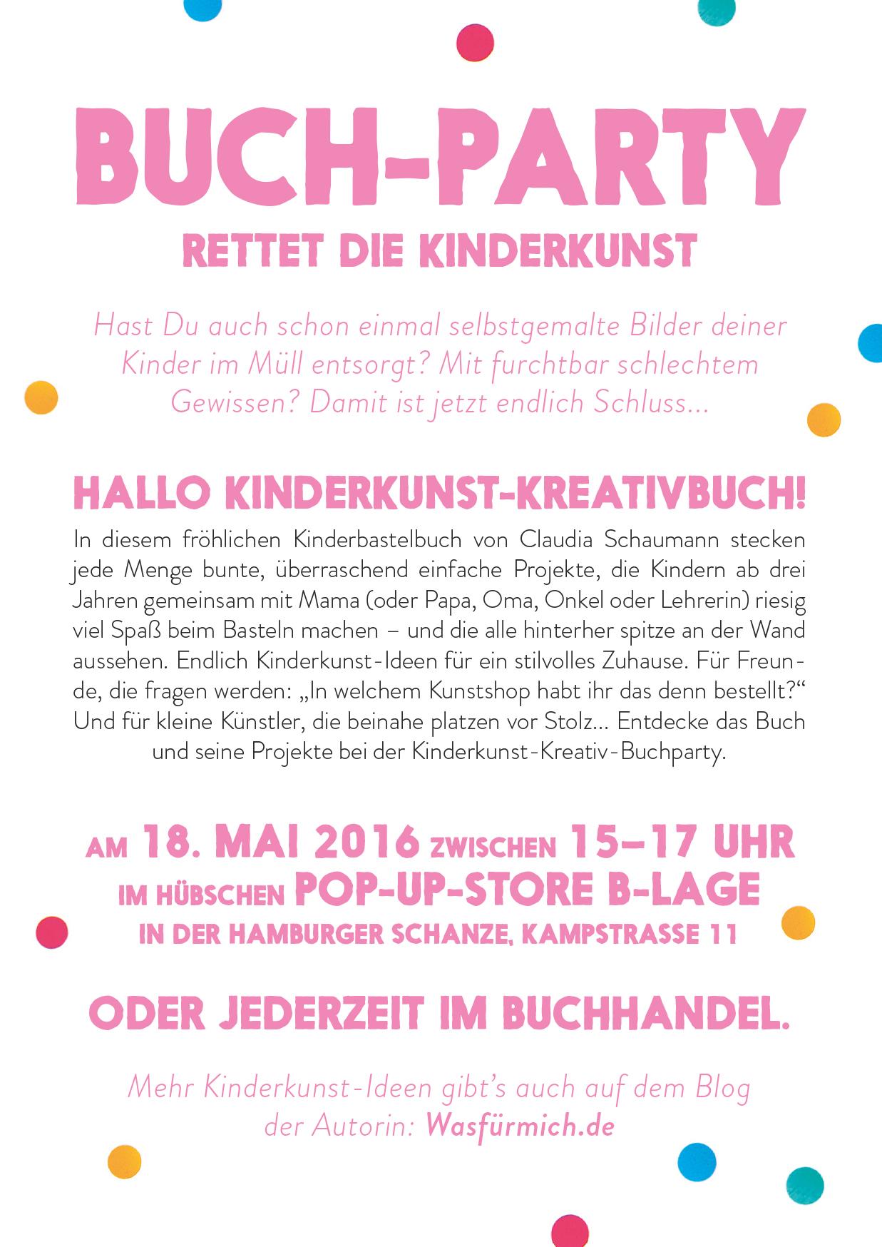 Das Kinderkunst-Kreativbuch, Basteln mit Kindern, Buchparty, Hamburg,