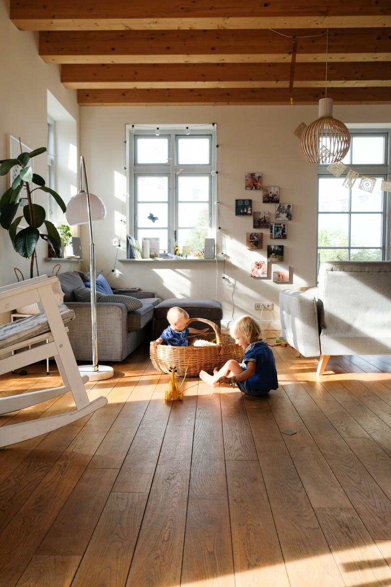 Haus bauen, Dielenboden, Holzdecke