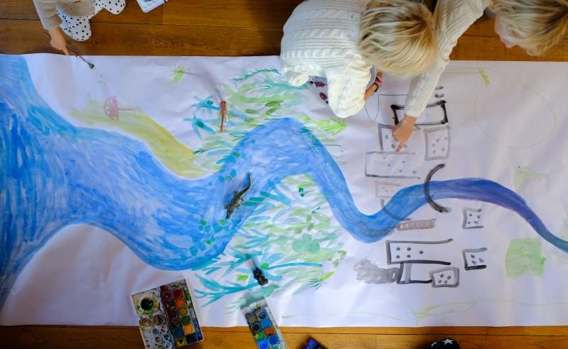 Fluss malen mit Kindern,