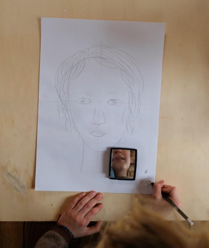 Portrait zeichnen, so malt man mit Kindern ein Selbstportrait