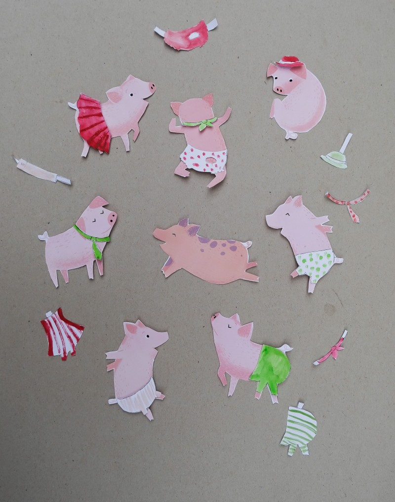 Ausschneideschweine, Anziehpuppen, Basteln mit Kindern,